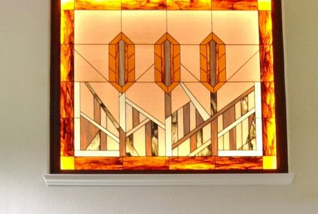 an example of a frank lloyd wright style stained glass