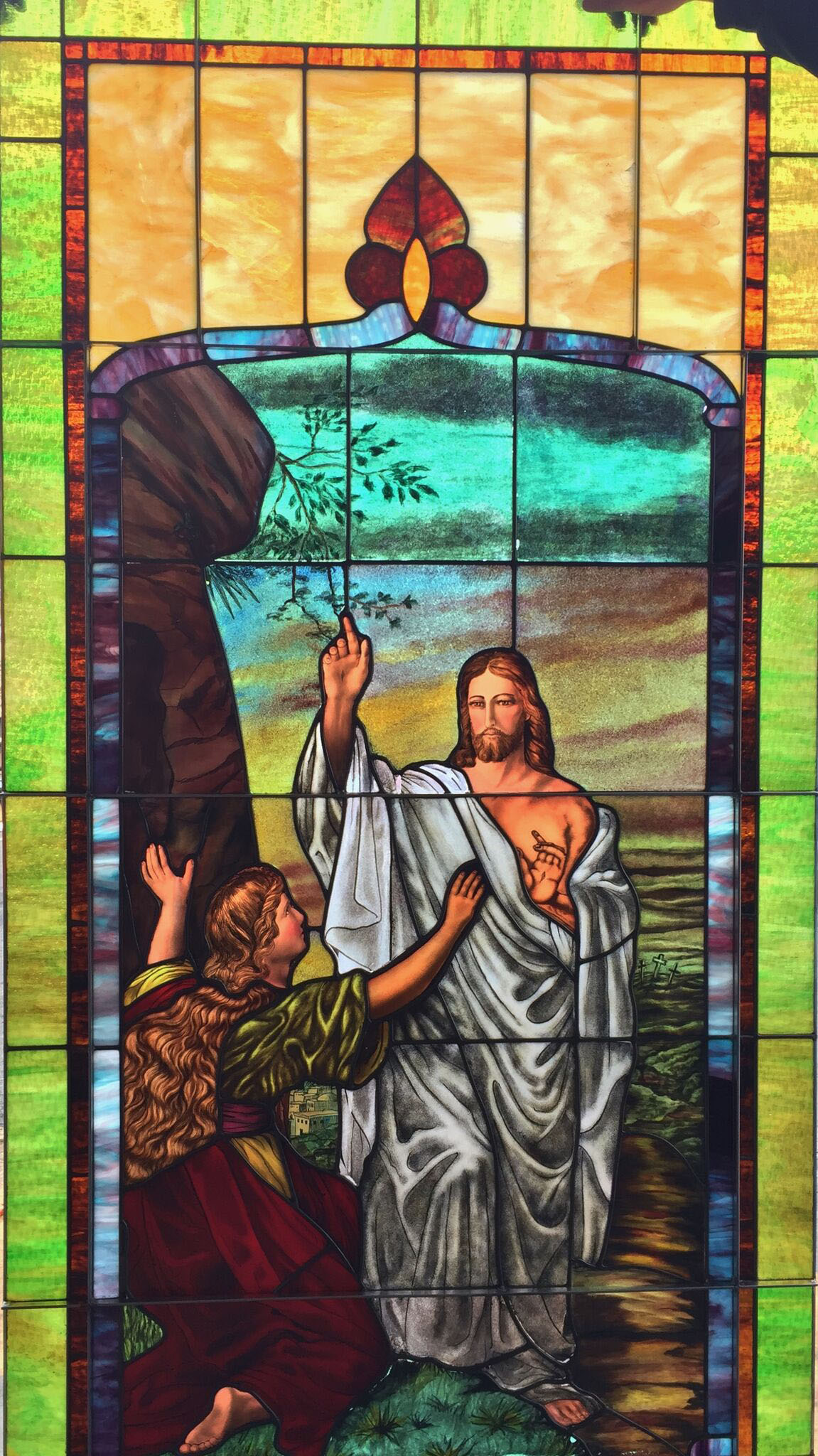 church stained glass after